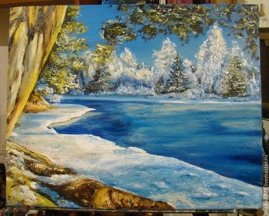 Пейзаж ручной работы. Ярмарка Мастеров - ручная работа. Купить зима зима. Handmade. Пейзаж, зимний пейзаж, зима, озеро