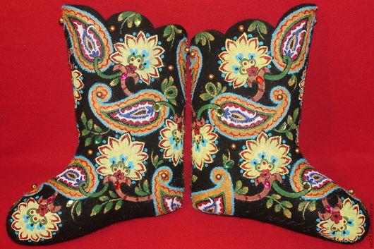 Обувь ручной работы. Ярмарка Мастеров - ручная работа. Купить Турецкие огурцы. Handmade. Черный, орнаменты, Новый год, обувь, сапоги
