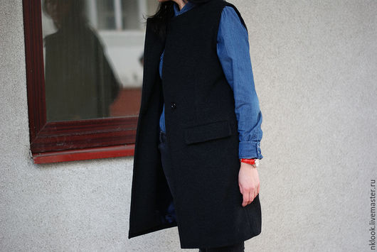 Верхняя одежда ручной работы. Ярмарка Мастеров - ручная работа. Купить Жилет-пальто. Handmade. Черный, пальто демисезонное