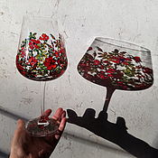 Посуда handmade. Livemaster - original item Glasses (pair) with stained glass painting