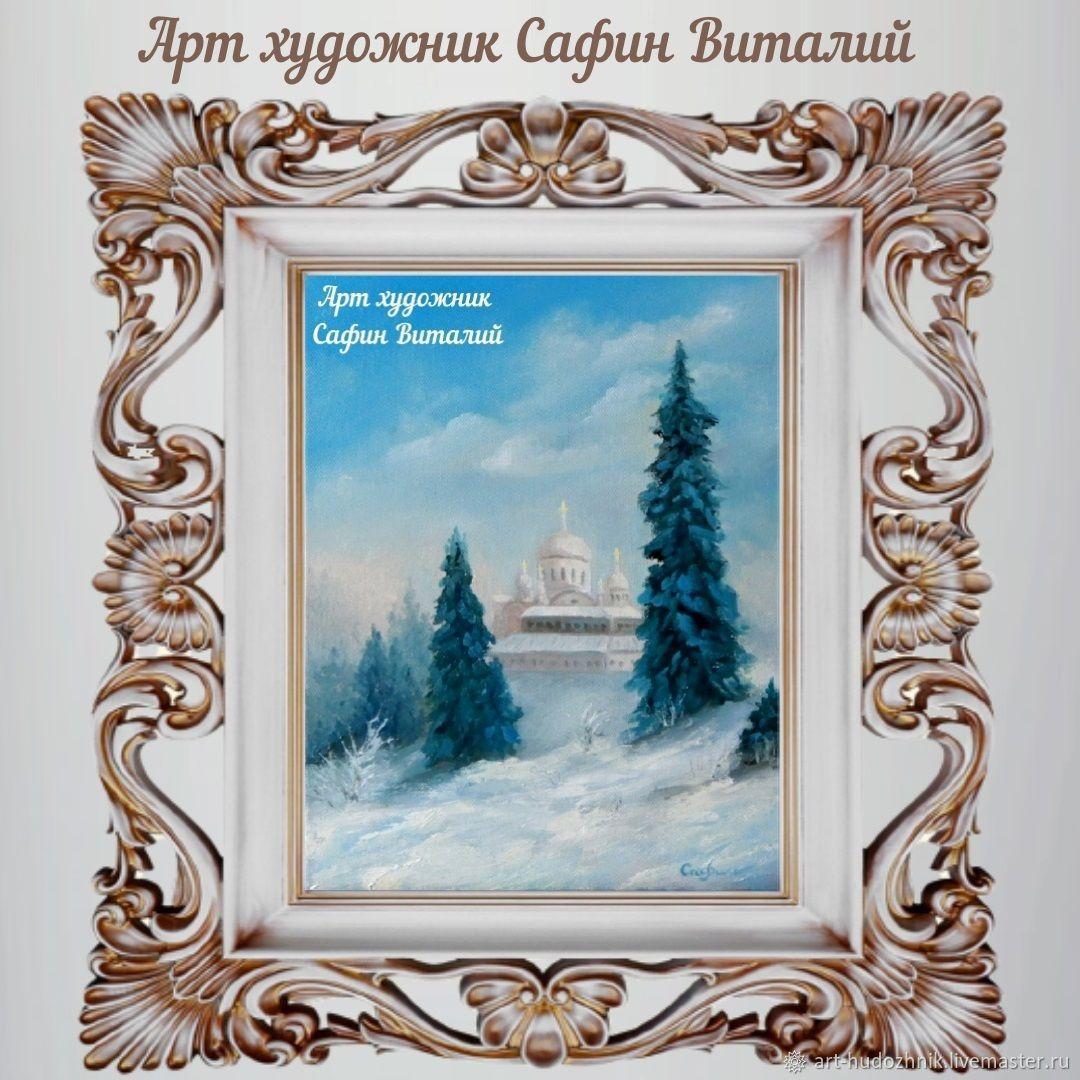 Зимний пейзаж картина маслом Белогорский монастырь, Картины, Санкт-Петербург,  Фото №1