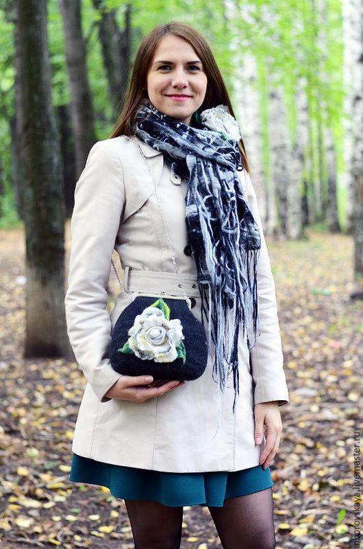 Женские сумки ручной работы. Ярмарка Мастеров - ручная работа. Купить Сумочка валяная из шерсти  Арктическая роза белая. Handmade.