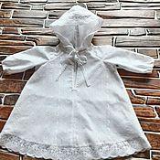 Работы для детей, ручной работы. Ярмарка Мастеров - ручная работа Крестильная сорочка с капюшоном и длинным рукавом. Handmade.