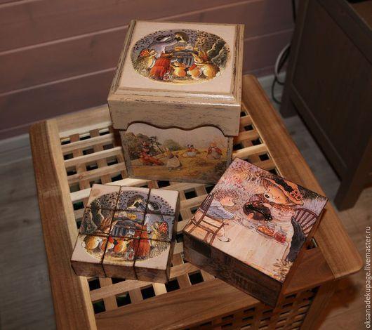 Шкатулки ручной работы. Ярмарка Мастеров - ручная работа. Купить Набор для детей короб для хранения + шкатулка с кубиками. Handmade.