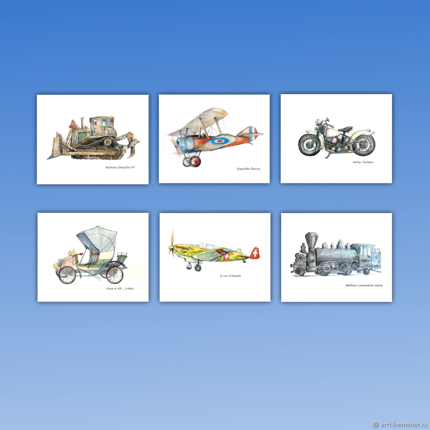 Bulldozer Airplane Train Motorcycle Set of 6 posters for boy, Pictures, St. Petersburg,  Фото №1