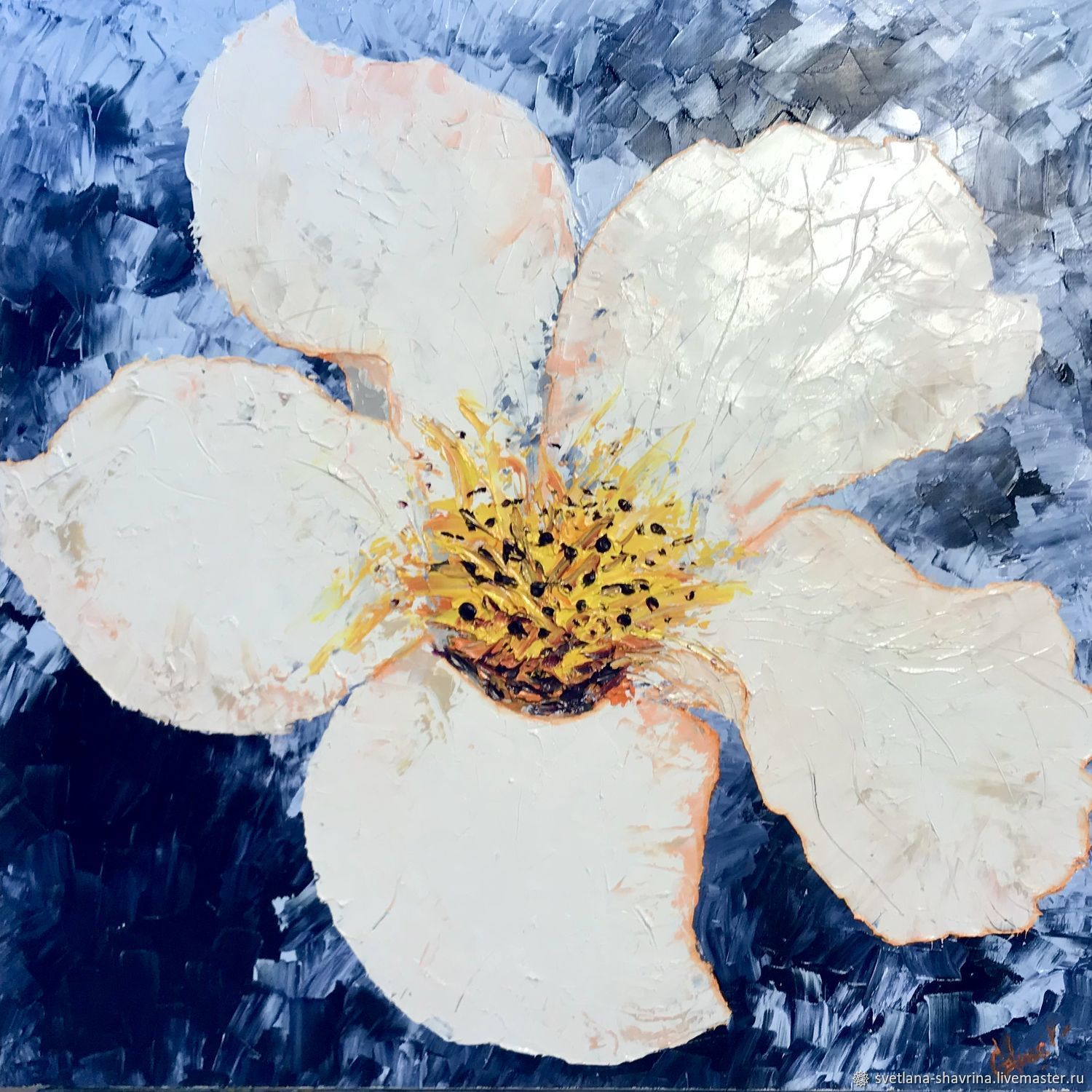 White Flower, oil on canvas, 50x50, 2020, Pictures, Moscow,  Фото №1