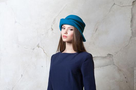 Шляпы ручной работы. Ярмарка Мастеров - ручная работа. Купить Бирюзовая шляпа. Handmade. Фетровая шляпа, ассиметричные поля