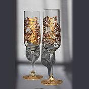 """Посуда ручной работы. Ярмарка Мастеров - ручная работа Бокалы для шампанского """"Золотая лихорадка"""". Handmade."""