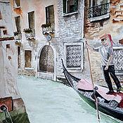 """Картины ручной работы. Ярмарка Мастеров - ручная работа Катрина акварель """"Гондольер"""". Handmade."""