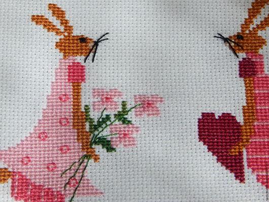 """Животные ручной работы. Ярмарка Мастеров - ручная работа. Купить Вышивка крестом  """"Зая - я влюблен!"""". Handmade. Розовый, Вышивка крестом"""