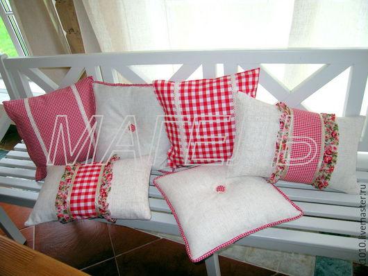 """Текстиль, ковры ручной работы. Ярмарка Мастеров - ручная работа. Купить подушка из рогожки """"Уютный дом"""". Handmade. Прованс"""
