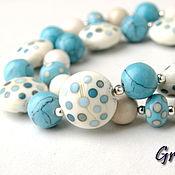 Украшения handmade. Livemaster - original item Beads with turquoise polka dots. Handmade.