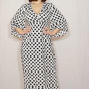Одежда ручной работы. Ярмарка Мастеров - ручная работа Черно-белое платье в горошек,черно-белое платье кимоно,платье в пол. Handmade.