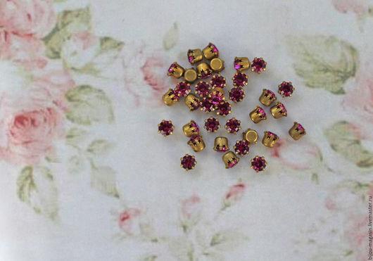 Для украшений ручной работы. Ярмарка Мастеров - ручная работа. Купить Винтажные кристаллы Swarovski 4,5 мм. цвет фуксия / розовый. Handmade.