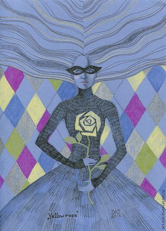 Фантазийные сюжеты ручной работы. Ярмарка Мастеров - ручная работа. Купить рисунок Жёлтая роза. Handmade. Фуксия, черный, серебро