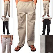 Одежда handmade. Livemaster - original item 100%linen fabric.Men`s sports trousers. Handmade.