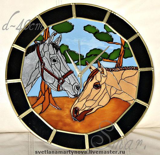 """Часы для дома ручной работы. Ярмарка Мастеров - ручная работа. Купить 3.63 Часы настенные """"Лошади"""". Handmade. Часы"""