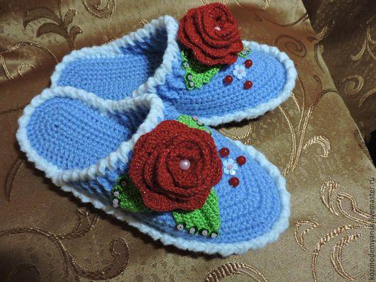 Обувь ручной работы. Ярмарка Мастеров - ручная работа. Купить Тапочки домашние вязаные крючком. Handmade. Голубой цвет