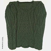 Одежда handmade. Livemaster - original item Women`s knitted sweater Arana, green, braids, Merino wool. Handmade.
