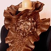 """Аксессуары ручной работы. Ярмарка Мастеров - ручная работа Валяный шарф-горжетка """"Шоколадный мусс"""". Handmade."""