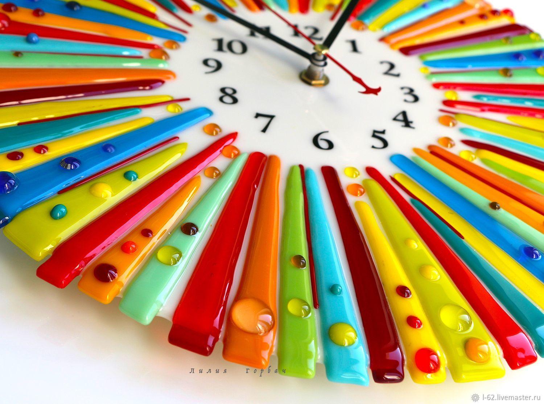 Часы для дома ручной работы. Ярмарка Мастеров - ручная работа. Купить Часы из стекла, фьюзинг  Шапито. Handmade. Фьюзинг