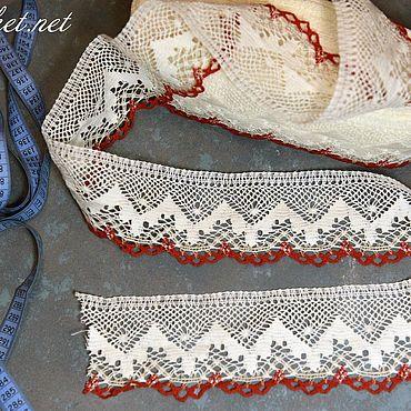 Материалы для творчества ручной работы. Ярмарка Мастеров - ручная работа 1.189L кружево льняное белое+серое+красное. Handmade.