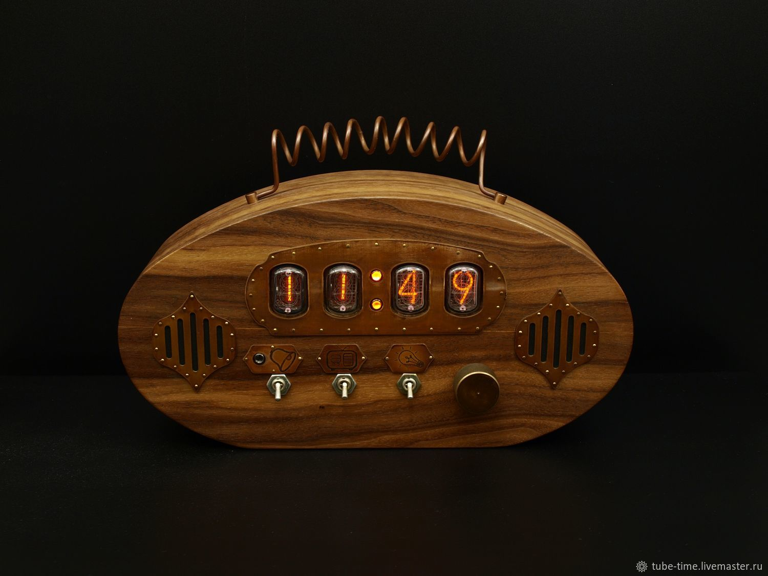 Tube clock with indicators IN-12 with the function of FM radio and alarm  clock