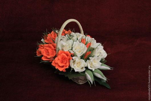 Букеты ручной работы. Ярмарка Мастеров - ручная работа. Купить Корзина оранжево-ванильная. Handmade. Оранжевый, День Святого Валентина