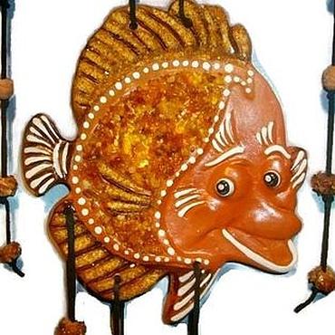 """Для дома и интерьера ручной работы. Ярмарка Мастеров - ручная работа Рыба """"Улыбаюсь"""" керамика панно на стену сувенир подарок. Handmade."""