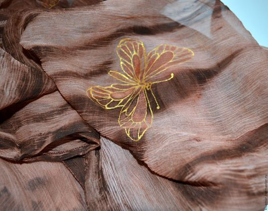 Шарфы и шарфики ручной работы. Ярмарка Мастеров - ручная работа. Купить шарф женский шелковый батик коричневый на жатом шелке шифон. Handmade.