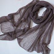 Аксессуары handmade. Livemaster - original item Coffee beige stole knitted from kid mohair black scarf. Handmade.