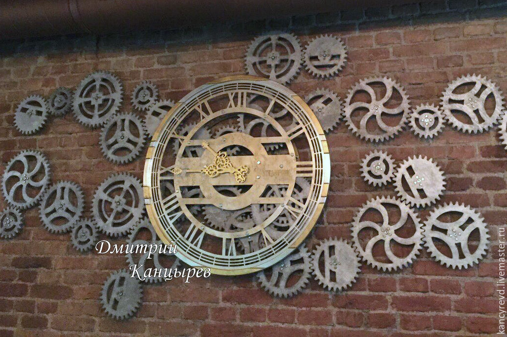 large wall clock steampunk with rotating gears shop. Black Bedroom Furniture Sets. Home Design Ideas
