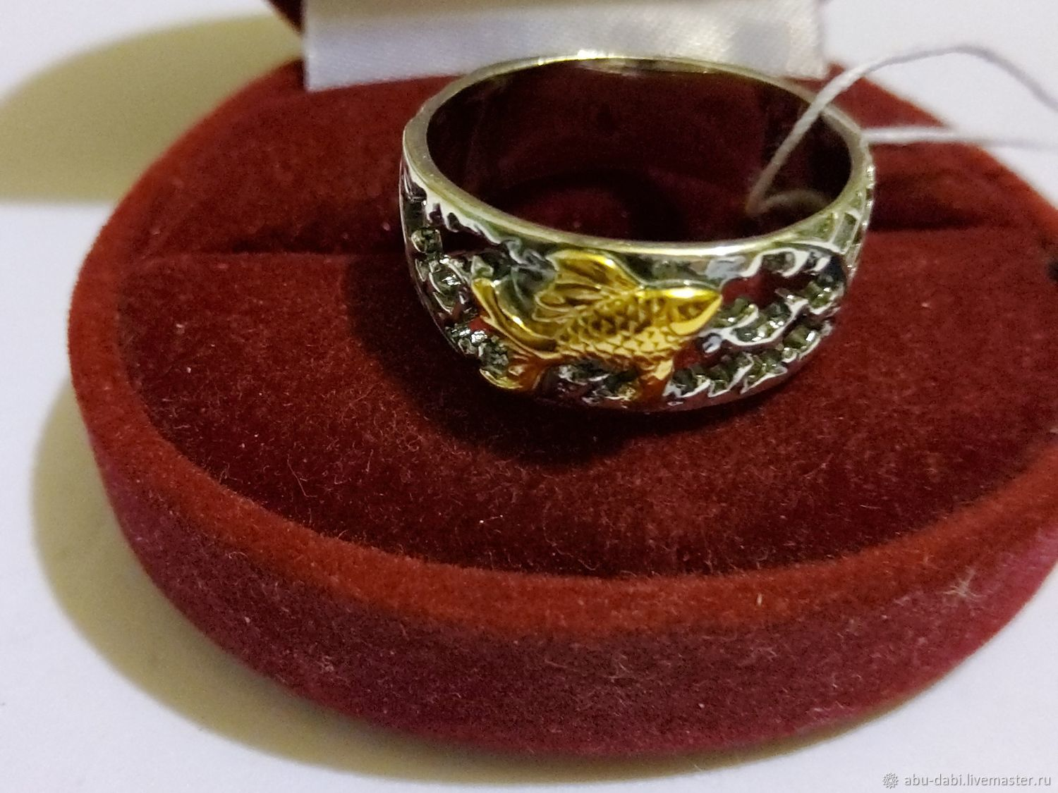 GOLD FISH ring 925 silver, new, seal,1995, Vintage ring, Moscow,  Фото №1