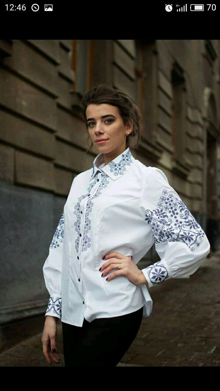 Блузка делового офисного стиля вышитая, Блузки, Львов,  Фото №1