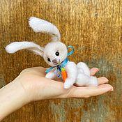 Куклы и игрушки handmade. Livemaster - original item Teddy Animals: Pocket white rabbit in a gift set. Handmade.