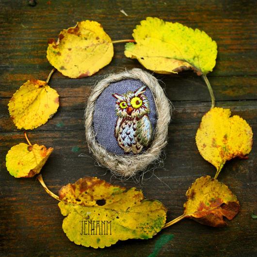 """Броши ручной работы. Ярмарка Мастеров - ручная работа. Купить Брошь """"Мистер Сов"""".. Handmade. Желтый, осень, Осенние цвета"""