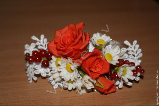 Заколки ручной работы. Ярмарка Мастеров - ручная работа. Купить Заколка с розами и ромашками.. Handmade. Ярко-красный, заколка с цветами