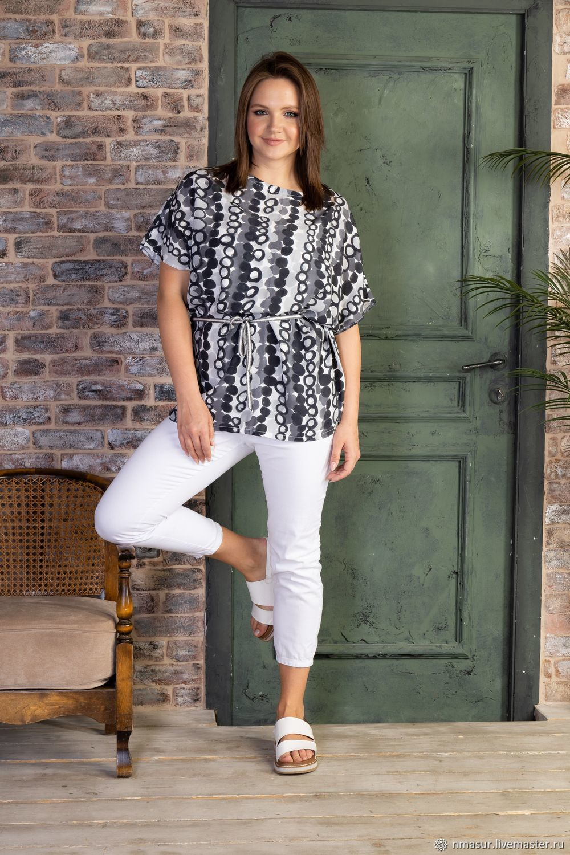 Viscose blouse with drawstring Grey polka Dots, Blouses, Novosibirsk,  Фото №1