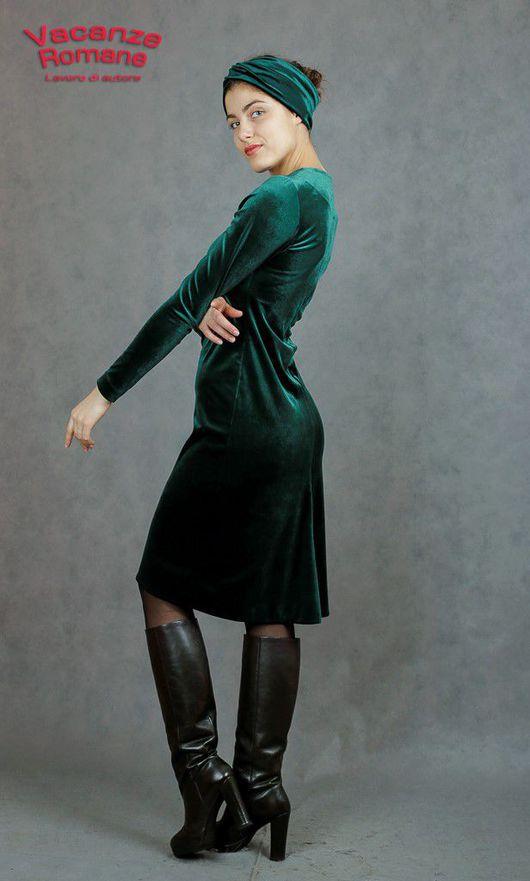 Платья ручной работы. Ярмарка Мастеров - ручная работа. Купить Vacanze Romane-931/2. Handmade. Тёмно-зелёный, бархатное платье