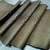 Материалы для творчества handmade. Livemaster - original item Python skin, dark brown, chocolate color.. Handmade.