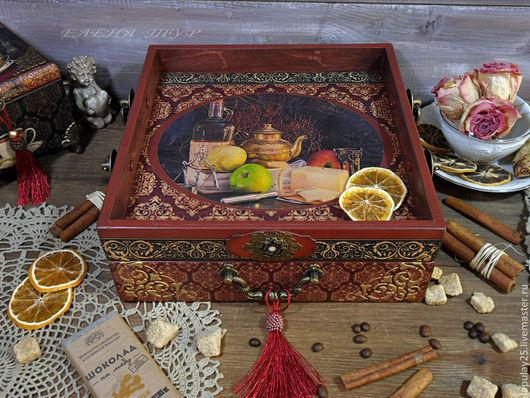 """Кухня ручной работы. Ярмарка Мастеров - ручная работа. Купить """"Antoinette"""" Чайный сервировочный короб поднос. Handmade. Поднос"""