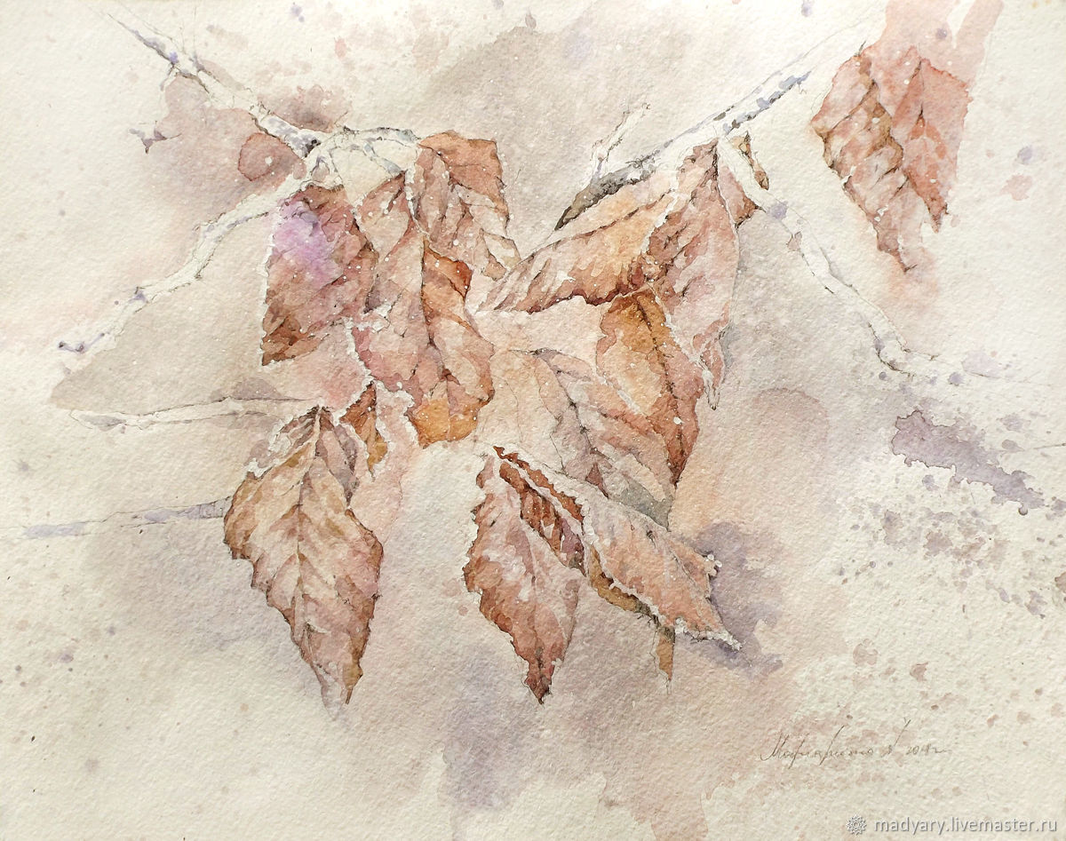 Pattern watercolor Leaves (red, lilac, white, leaves, autumn), Pictures, Smolensk,  Фото №1
