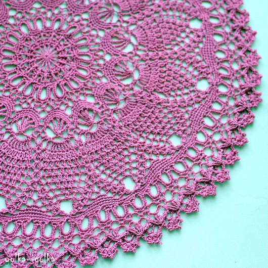 Текстиль, ковры ручной работы. Ярмарка Мастеров - ручная работа. Купить Кружевная салфетка брусничного цвета. Handmade. Салфетка