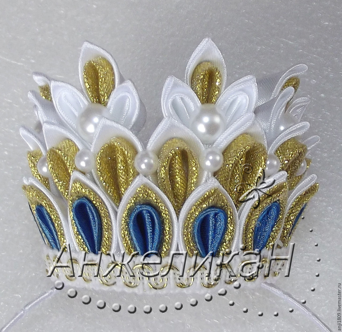 Корона на заколке канзаши мастер класс
