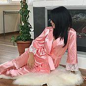 Одежда handmade. Livemaster - original item Women`s pajamas with lace, silk pajamas. Handmade.