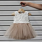Работы для детей, handmade. Livemaster - original item Beige elegant dress for girls lace with beads and tulle. Handmade.