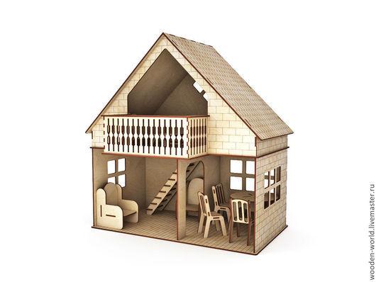 Декупаж и роспись ручной работы. Ярмарка Мастеров - ручная работа. Купить Кукольный домик с балконом мебелированный. Handmade. Домик, крыша