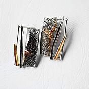 Серьги классические ручной работы. Ярмарка Мастеров - ручная работа Серебряные серьги с золочением. Handmade.