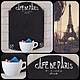 """Подвески ручной работы. Ярмарка Мастеров - ручная работа. Купить """"CAFE de Paris"""" доска для записи. Handmade. Чёрно-белый"""