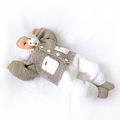 Работы для детей, handmade. Livemaster - original item knitted costume for newborn baby boy hooded, beige white. Handmade.